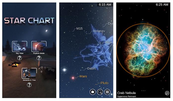برنامه Star Chart برای سنسور گوشی اندروید