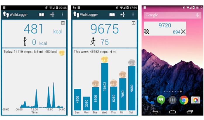برنامه WalkLogger pedometer برای سنسور گوشی اندروید