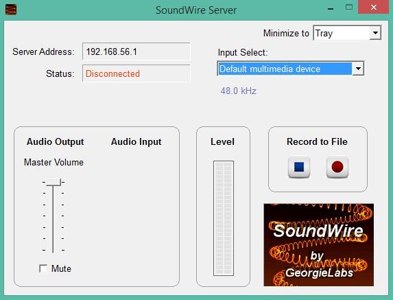 محیط برنامه SoundWire Server