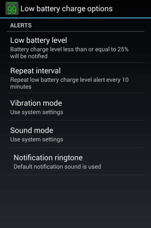 تنظیمات Battery Notifier BT Free