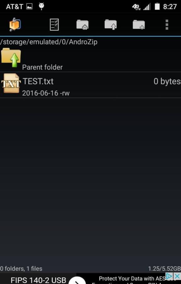 محیط برنامه AndroZip™ Free File Manager اندروید