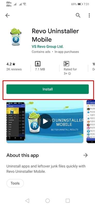 برنامه Revo Uninstaller Mobile