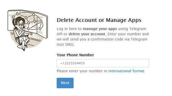 وارد کردن شماره اکانت تلگرام