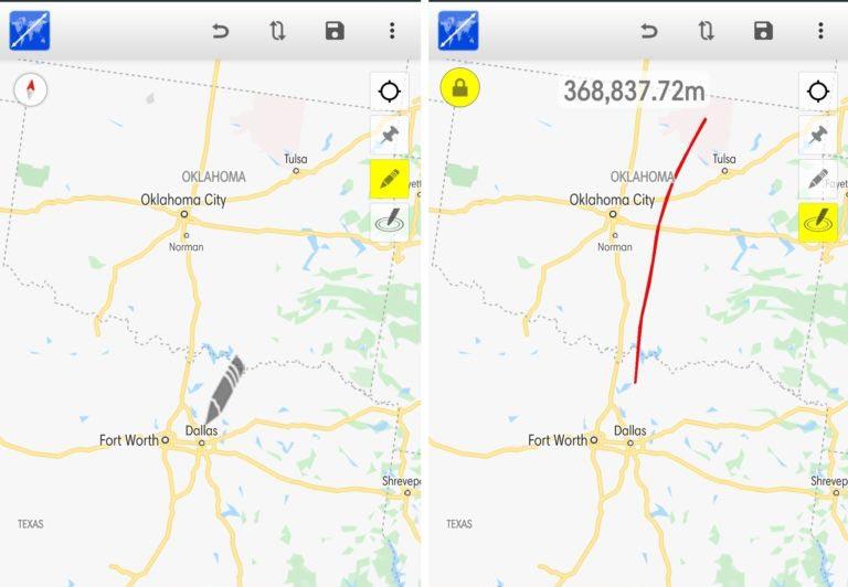 محیط برنامه Maps Distance Calculator برای اندازه گیری مسافت اندروید