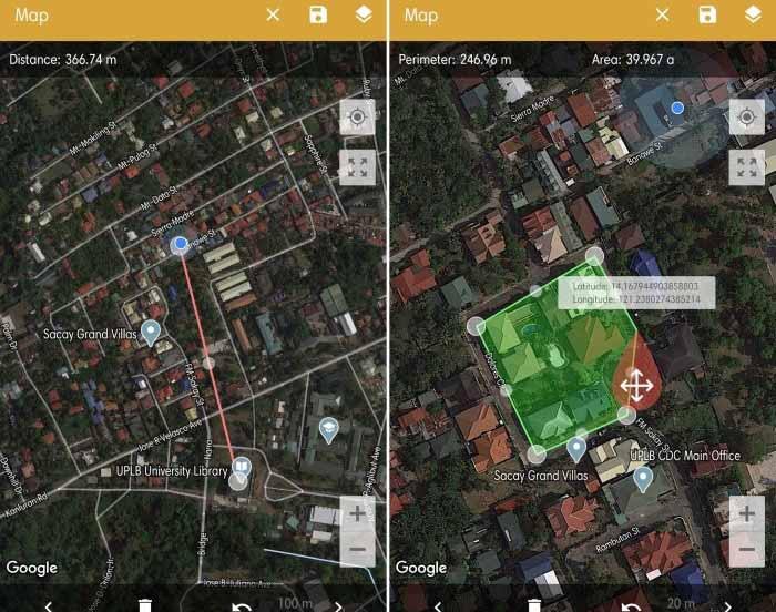 محیط برنامه GPS Fields Area Measure برای اندازه گیری مسافت اندروید