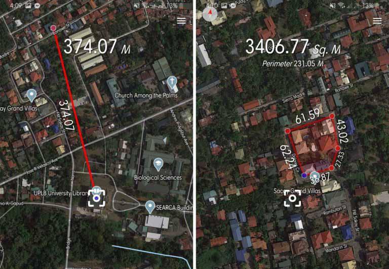 محیط برنامه Distance & Area Measure برای اندازه گیری مسافت اندروید