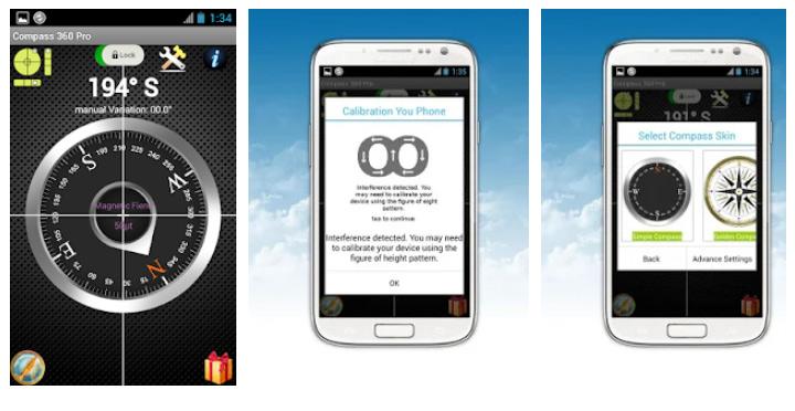 محیط برنامه قطب نما Compass 360 Pro Free اندروید