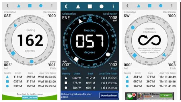 محیط برنامه قطب نما Digital Field Compass اندروید