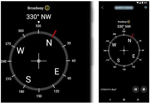 محیط برنامه قطب نما Digital Compass اندروید