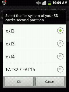 انتخاب File System در اپلیکیشن