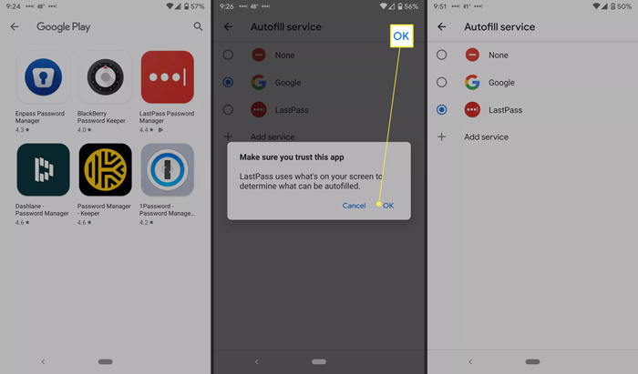 اضافه کردن اپلیکیشن مدیریت رمز عبور