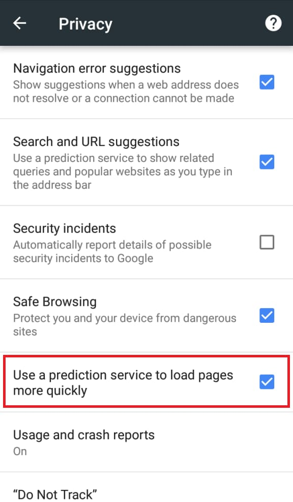 Use a prediction service to load pages more quickly در کروم