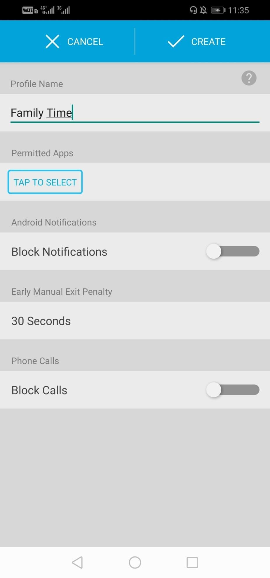 انتخاب آلارم برای مصرف اینترنت اینستاگرام