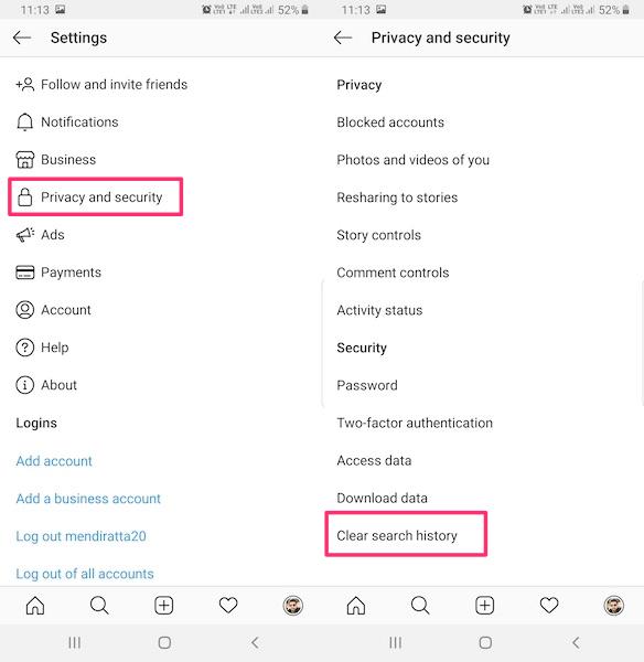 حذف سابقه جستجو instagram