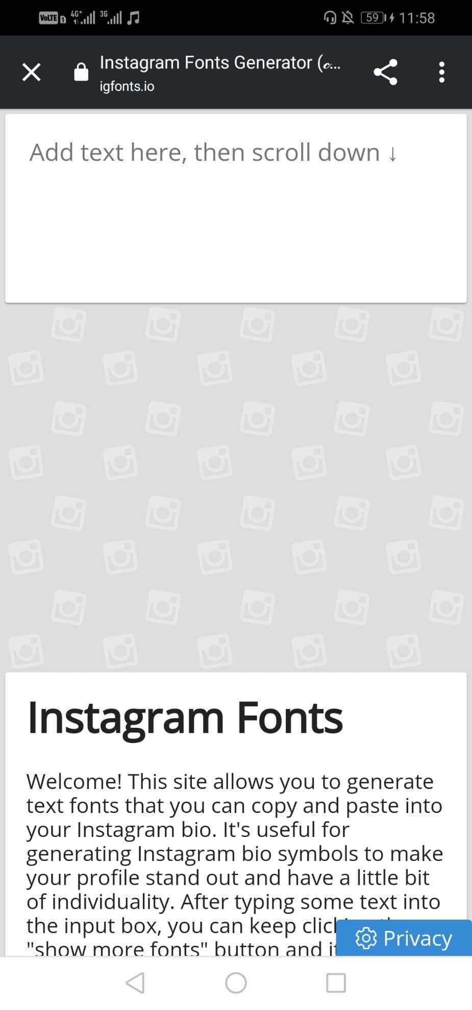 سایت igfonts.io برای استایل فونت اینستاگرام