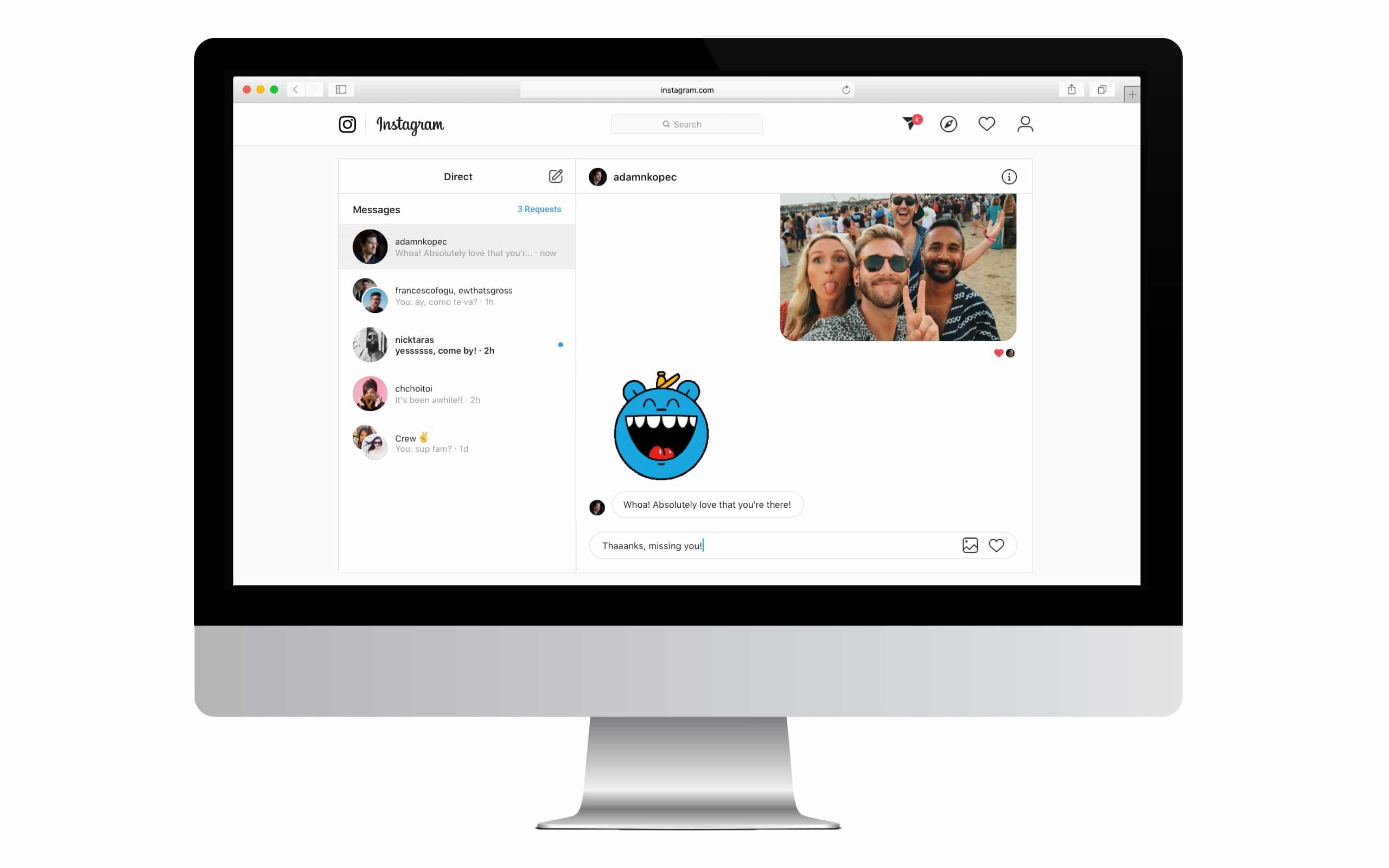 نسخه وب اینستاگرام