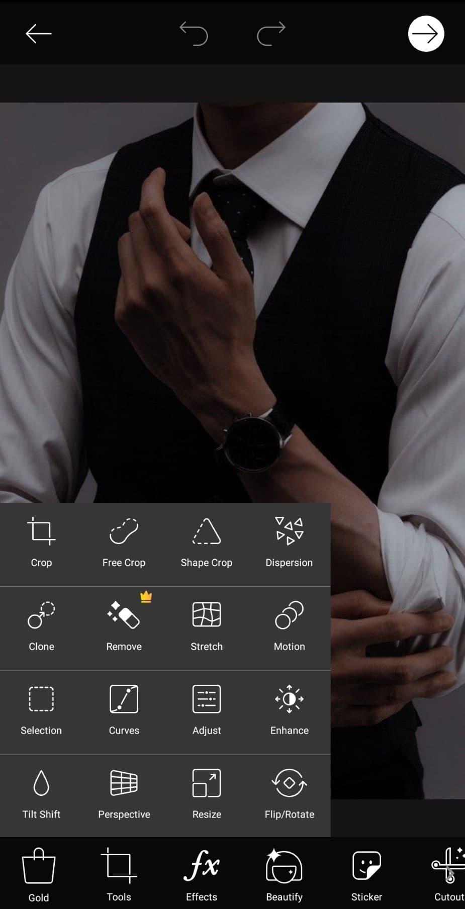 گزینه Tools در PicsArt