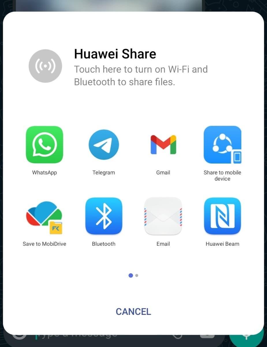 پنجره اشتراک پیام های واتس اپ به دیگر مسنجر ها