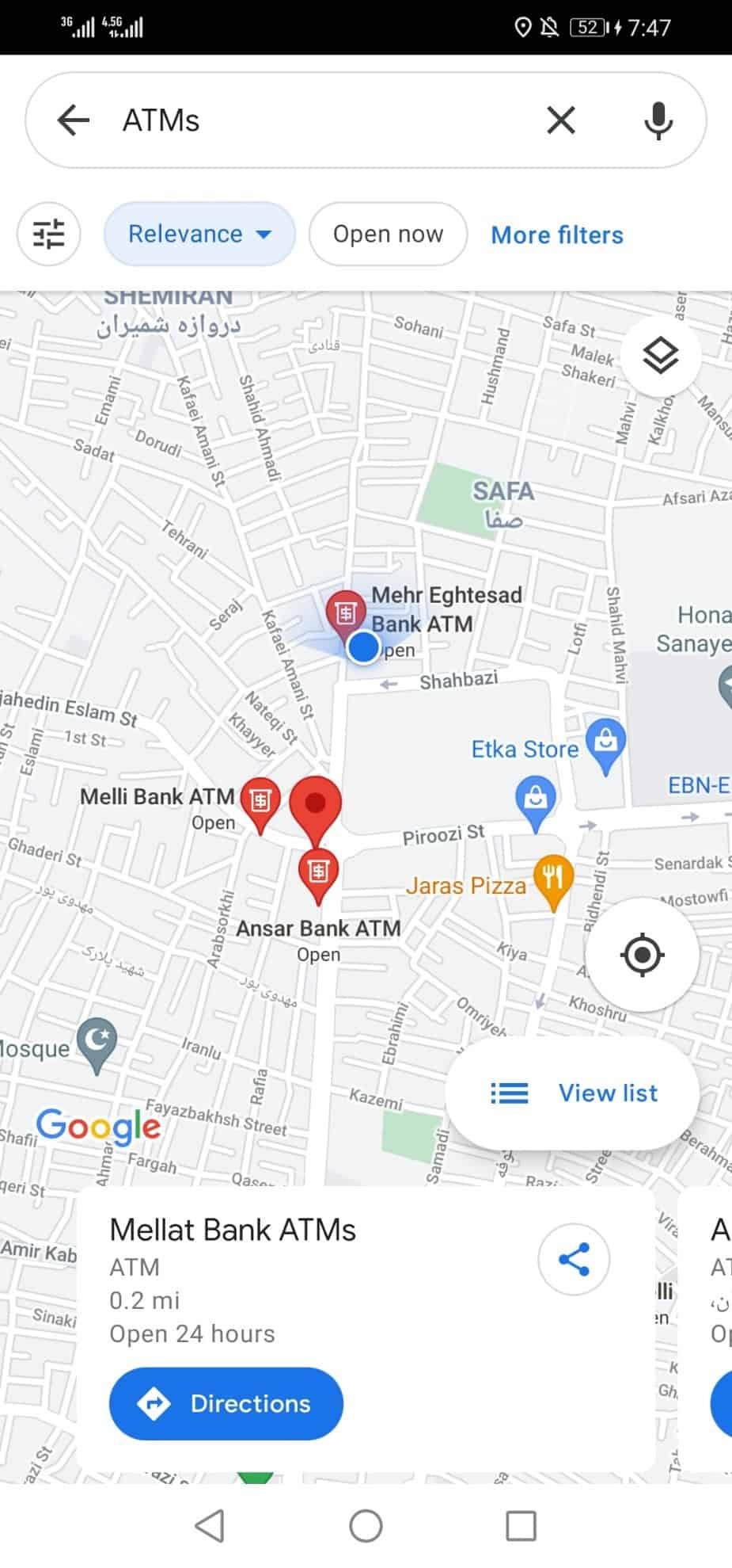 نمایش نزدیک ترین مکان های اطراف من در گوگل مپ و نقشه