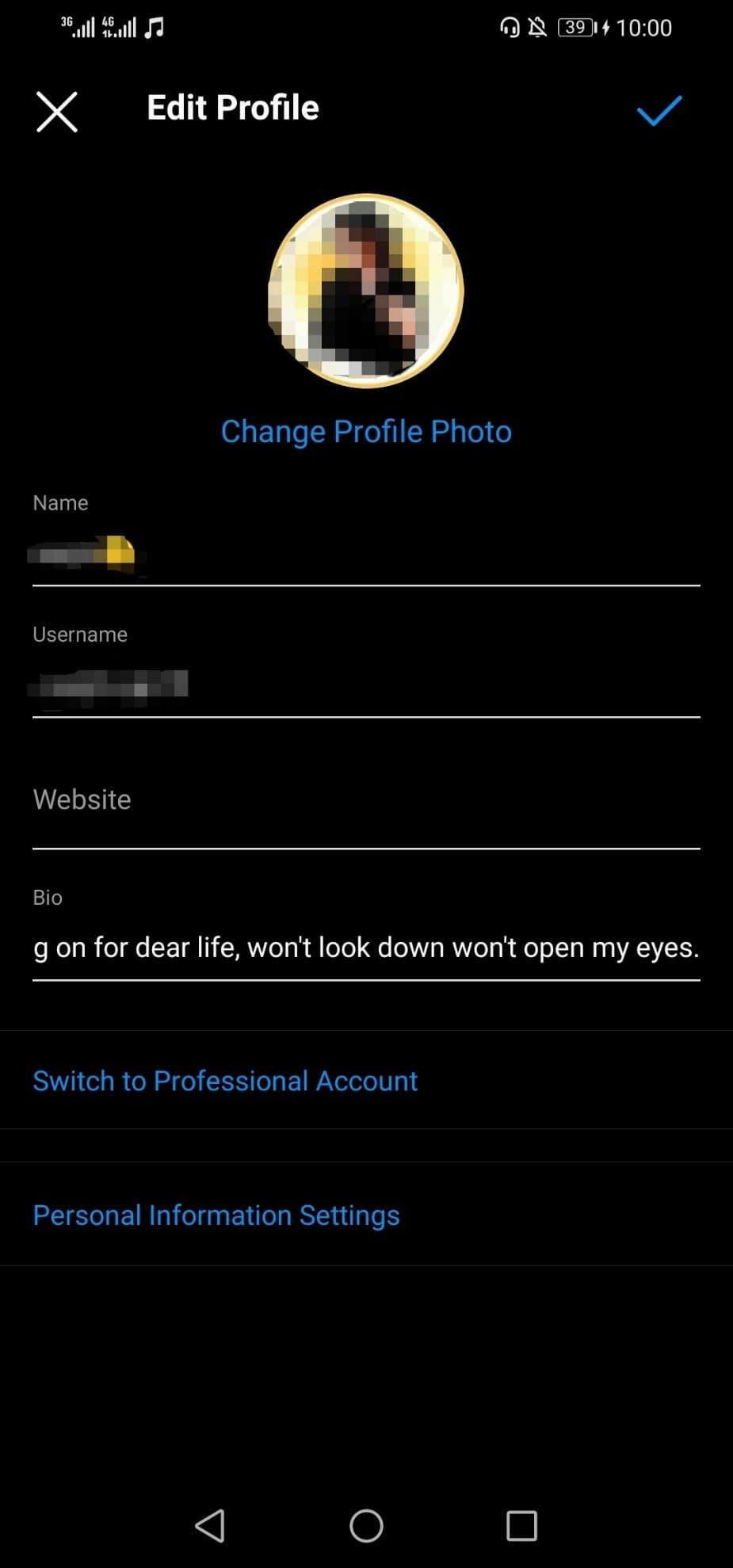 گزینه Personal Information Settings