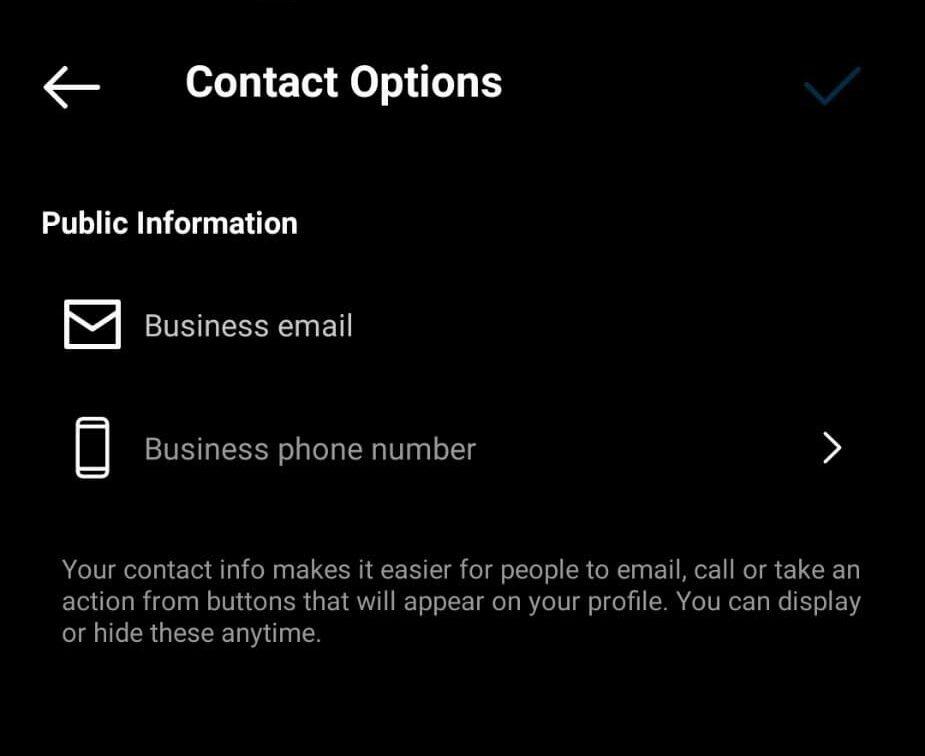 افزودن شماره تماس و ایمیل به اینستاگرام