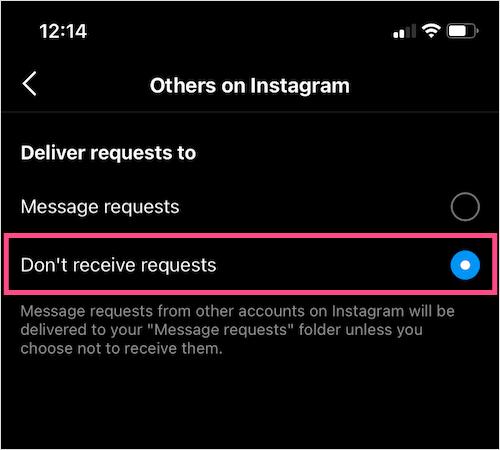 خاموش کردن Request messages اینستاگرام